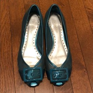 Bcbgirls buckle teal wedge shoes size 7